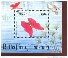 TANZANIA   1056  MINT NEVER HINGED SOUVENIR SHEET OF BUTTERFLIES - Schmetterlinge