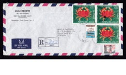 Haiti: Registered Airmail Cover To Germany, 4 Stamps, 1 Tax Stamp, Electricity, Crab, Sea Animal (traces Of Use) - Haïti