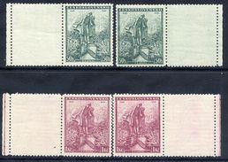 CZECHOSLOVAKIA 1936 Macha Centenary With Blank Labels MNH / ** .  Michel 345-46 LF X 2 - Czechoslovakia