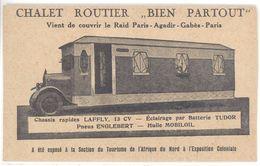 """Cpa Pub Chalet Routier """" Bien Partout """", Raid Paris Agadir Gabès Paris ... Chassis Laffly ... (camping Car )  (S. 2144) - Cartoline"""
