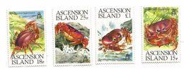 1989 Ascension Crabs Crustaceans   Complete Set Of 4 NH - Ascension (Ile De L')