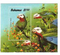 1990 Bahamas Parrots Birds Complete Set Of 4 + Souvenir Sheet NH - Bahamas (1973-...)