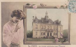 60. CREIL. CPA RARE. DE CREIL JE VOUS ENVOIE CES FLEURS. ANNÉE 1905. HOTEL DE VILLE - Creil