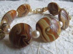 Bracelet Artisanal Marron Perles En Verre - Lampwork, Imitation Perles De Culture Et Breloques  Très Beau Mariage De Cou - Bracelets