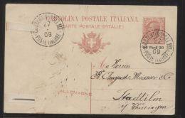 Italienische Post In Der Levante - 20 Para Ganzsache/Auslands-Postkarte MiNr. P35 - Gelaufen CONSTANTINOPOLI 27.9.1909 - Bureaux Etrangers