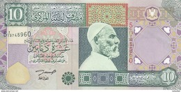 LIBYA 10 DINARS 2002 P-66 SIG/4 ZILITNI EF XF */* - Libië