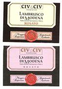 ITALIA - 2 Etichette Vino LAMBRUSCO DI MODENA Cantine CIV&CIV Di Modena Rosato Dell'EMILIA - Vino Rosato