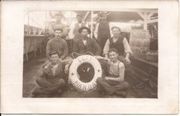 KRISTIANSAND NORGE PHOTO CARD 1909 VESSEL WITH SAILORS LIFE BUOY ELFI TO Rotterdam Stamp Removed 185/d4 - Norvège