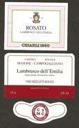 ITALIA - 2 Etichette Vino LAMBRUSCO DELL'EMILIA Cantine CHIARLI Di Modena E SOC.DI MASONE-CAMPOGALLIANO Rosato EMILIA - Vino Rosato