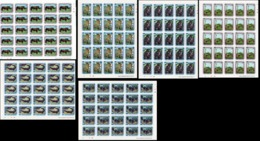 Centrafrica 1989, WWF, Rhino, Crocodile, Elephant, Girafs, 5sheetlets - Rhinozerosse