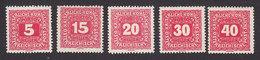 Austria, Scott #J49, J51-J52, J54-J55, Mint Hinged, Postage Due, Issued 1916 - Taxe
