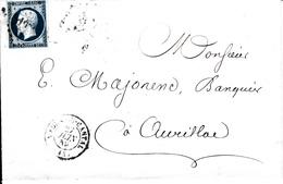 MARQUE POSTALE LAC DE MAURS DU CANTAL     A AURILLAC     S/ N°14  PC 1934 - 1849-1876: Classic Period