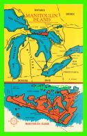 CARTES GÉOGRAPHIQUES, MAPS - MANITOULIN ISLAND - HOME OF THE INDIAN GREAT GOD MANITOU - A. A. GLEASON JR - - Cartes Géographiques