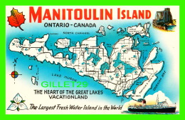 CARTES GÉOGRAPHIQUES, MAPS - MANITOULIN ISLAND -THE GREAT LAKES VACATIONLAND  - A. A. GLEASON JR - - Cartes Géographiques