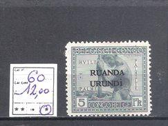 Ruanda-Urundi N° 60 * Trace De Charnière (charnière Double) - 1924-44: Mint/hinged