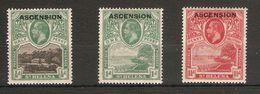 ASCENSION 1922 ½d, 1d, 1½d  SG 1 - 3 LIGHTLY MOUNTED MINT Cat £32 - Ascension