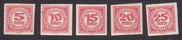 Austria, Scott #J93-J97, Mint Hinged, Postage Due, Issued 1920 - Postage Due