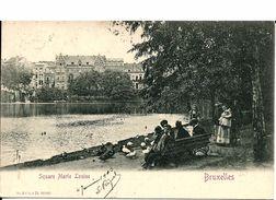 BRUXELLES (1040) : Distribution De Pain Aux Canards Du Square Marie Louise. Belle Petite Animation. CPA Précurseurs. - Etterbeek