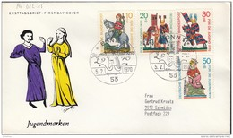 BRD 612-615,  FDC, Jugend: Minnesänger, 1970 - FDC: Enveloppes