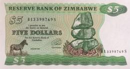 Zimbabwe 5 Dollars P-2e Scarce Watermark UNC - Simbabwe