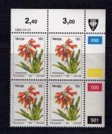 VENDA, 1985, Mint Never Hinged Stamps In Control Blocks, MI 111, Flower 12 Cent, X325 - Venda