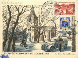 1958 Carte Postale Journée Du Timbre 1958   Oran Pour L'Espagne Yv 350, 337D - Briefe U. Dokumente