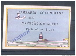 COMPAÑIA COLOMBIANA DE NAVEGACION AEREA PORTE AEREO $ 0,10.- EN SOBRECARGA NEGRA YVERT NR. 5 RARE SOLD AS IS  PHARE PHAR - Colombie
