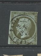 France 1853 Napoleon One Cent Green/ On Bluish  Fine Used - 1853-1860 Napoleon III