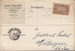 INFLA  DR 250 EF Auf PK Der Fa. Josef Kiechle, Butter, Käse, Fett, Mit St. (Filbrand 25.2a): München Luftpost 15.8.1923 - Infla