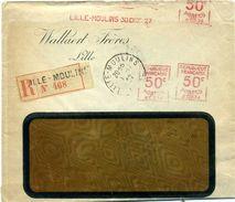 EMA France Havas Type A 1927 Lille Moulins Multiple Recommandée - Marcophilie (Lettres)
