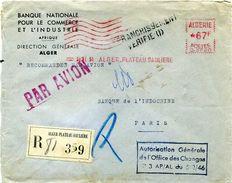 EMA France Havas Type C ALGERIE ALGER PLATEAU SAULIERE 1950 Recommandé PAR AVION - Marcophilie (Lettres)