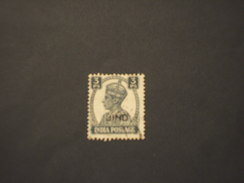 JHIND - 1942/3  RE  3 PI. - TIMBRATO/USED - Jhind