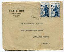 Lettre Exploitation Forestière Alexandre Weber 2 Timbres 4f Bleu - Cameroun (1915-1959)