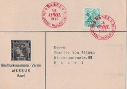 BASEL → Briefmarkensammler-Verein MERKUR  (100 Jahre Basler Taube 1945 - Schweiz