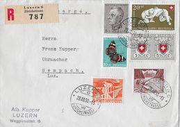 LUZERN → R-Brief Nach Sempach Stadt Mit Interessanter Mischfrankatur Anno 1950 - Schweiz