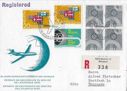 20 JAHRE NORDATLANTIKVERKEHR DER SWISSAIR 1967 → R-Brief Genève-Thayngen - Luftpost