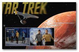 CANADA , 2016, #2922,  STAR TREK 50th Anniversary  2 $5.00,   LENTICULAR SS - Blocs-feuillets