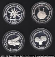 1990 New Zealand Celebration Of Sport Silver Dollar Series Coins - Nouvelle-Zélande