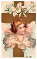 8501  Easter,   Angel, Cross, Lilies - Easter