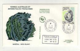 Enveloppe 1er Jour TERRES AUSTRALES ET ANTARCTIQUES FRANCAISES Oblitération TERRE ADELIE 01/01/2000 - FDC