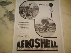 ANCIENNE PUBLICITE HUILE AEROSCHELL POUR MOTO 1933 - Motos