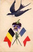 """AMITIE - FRANCO - BELGE ."""" Deux Drapeaux Une Fleur Et Une Hirondel """" - Sonstige"""