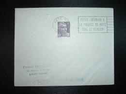LETTRE TP MARIANNE DE GANDON 5F OBL.MEC.16-7-1952 METZ RP (57 MOSELLE) 1552 REUNION A LA FRANCE DE METZ TOUL ET VERDUN - Marcophilie (Lettres)