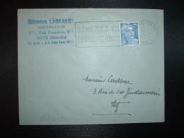 LETTRE TP MARIANNE DE GANDON 15F OBL.MEC.7-4-1954 METZ GARE (57 MOSELLE) BONS PTT 6% SECURITE 100% - Marcophilie (Lettres)