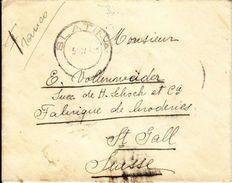 LETTRE POUR LA SUISSE - BRODERIES DE ST-GALL - 7.11.1911 - 1881-1918: Charles Ier