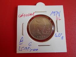Léopold III. 5 FRANCS 1938 VL/FR POS.A (COURONNE !!!) MORIN N° 455a  QUALITE:VOIR PHOTOS - 1934-1945: Leopold III