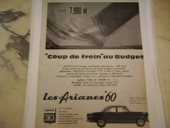 ANCIENNE PUBLICITE VOITURE  SIMCA ARIANES 1960 - Cars