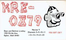 Old QSL From Dean And Darlene Lindley (KRE-0879), Childs Ave, Ogden, Utah, USA (1967) - CB