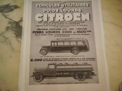ANCIENNE PUBLICITE VEHICULE UTILITAIRE POID LOURD CITROEN   1933 - Camions