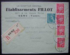 1939 Sens (Yonne) Lettre Recommandée Établissements Fillot Comptoir Central - Postmark Collection (Covers)